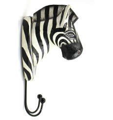 Peg trophy wall head-zebra wood, decorative room savannah.