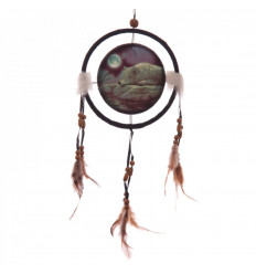 "Giant dream catcher indian 40x17cm with pattern ""wolf in the moonlight""."
