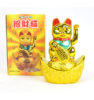 Maneki neko / Petit Chat japonais doré - Porte bonheur
