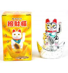 Maneki neko argento / Piccolo Gatto giapponese fortunato