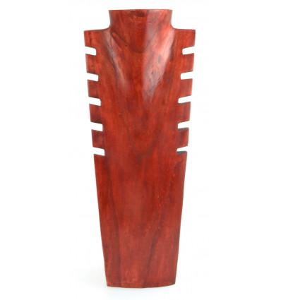 Buste présentoir à colliers cranté en bois massif couleur rouge H40cm