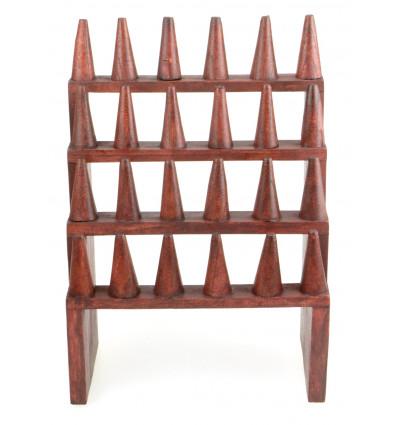 Porta-anelli / Display-ring (24 coni) in legno massello di colore rosso