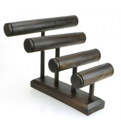 Grande espositore per bracciali/orologi da 4 barre in legno massello tinta marrone