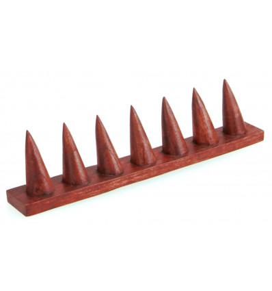 Porte-bagues en bois massif couleur rouge / Présentoir à bagues (7 cônes)