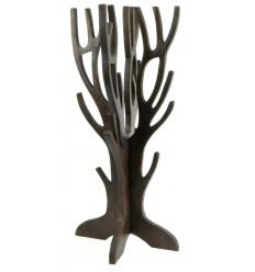 Arbre à Bijoux pour colliers, bracelets, montres - bois massif teinté marron chocolat