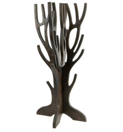 Gioielli albero per collane, bracciali,orologi in legno massello tinto marrone cioccolato
