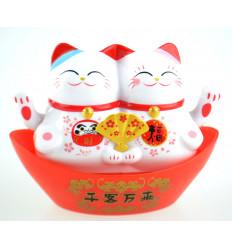 Couple Maneki Neko solaire / Duo de chats japonais blancs porte-bonheur