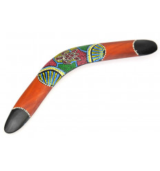 Boomerang wall hand painted. Decoration Aboriginal Australia.