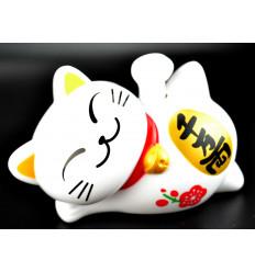 Maneki Neko solaire allongé / Chat japonais blanc porte-bonheur
