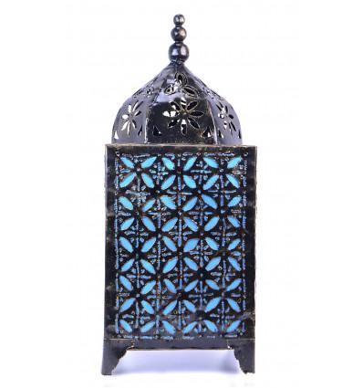 Lampe marocaine bleu turquoise fer forgé. Décoration maroc orient.
