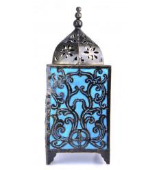 Soggiorno lampada artigianale in ferro battuto, deco-barocco blu turchese.
