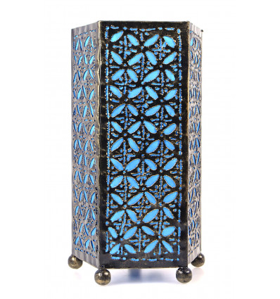 lampe de chevet artisanale en fer forg turquoise chambre orientale. Black Bedroom Furniture Sets. Home Design Ideas