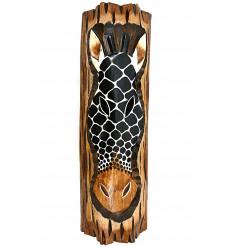 Décoration murale Girafe en bois thème savane africaine ethnique.