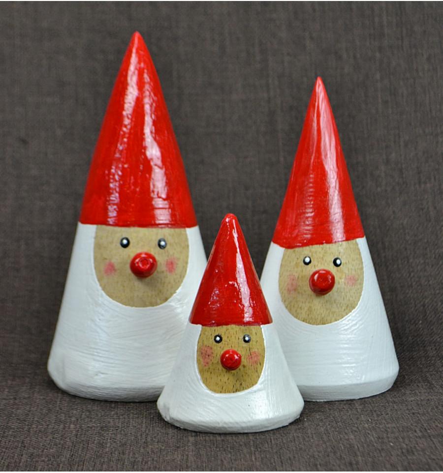 Small santa claus wood hand made. Craft deco christmas cheap.