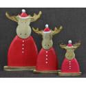 3 rennes en habit de Noël. Déco artisanale en bois.