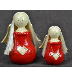 2 anges en bois Robe rouge Déco de Noël artisanale.