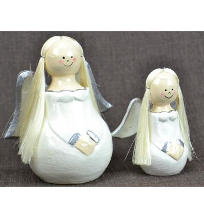2 anges en bois Robe blanche Déco de Noël artisanale.