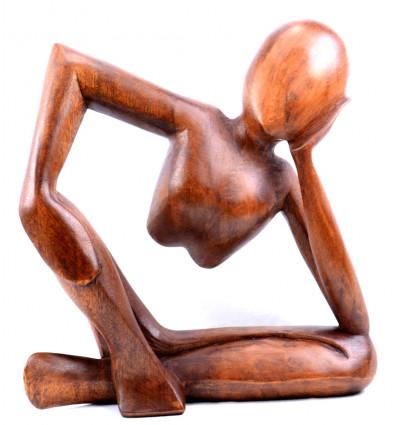 Statue penseur africain rodin sculpture bois artisanale. Déco moderne.