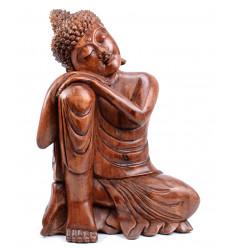 Bouddha penseur, grande statue artisanale en bois.