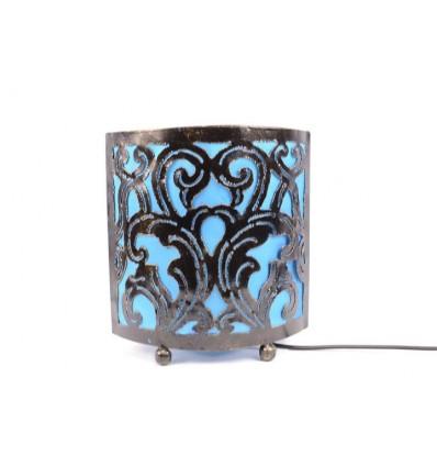 Lampada da comodino in stile marocchino orientali in ferro battuto tessuto turchese