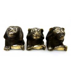 The monkeys of the wisdom. 3 Statues deco bronze.