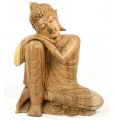 Buddha pensatore. Grande statua di buddha Zen in legno naturale.