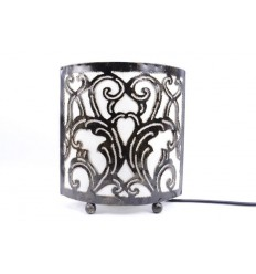 Lampada da comodino in stile marocchino orientali in ferro battuto e tessuto bianco