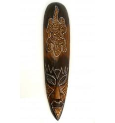 Masque africain motif salamandre porte-bonheur. Déco exotique bois.