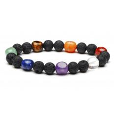 Bracelet healing 7 chakras. Lava stone and semi-precious stones