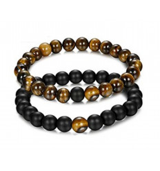 Bracelets of distance - good luck charm - black Agate and tiger Eye - free Delivery !!!