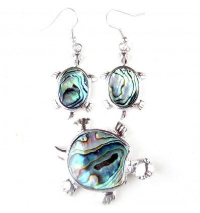 Parure collier + pendentif + boucles d'oreilles Tortue Abalone. Livraison gratuite !