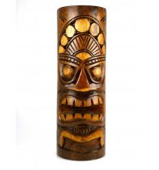 Grand Totem Statue Tiki H 50cm en bois massif sculpté à la main