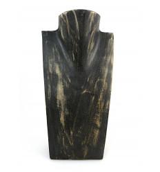 """Buste présentoir à collier H25cm en bois finition """"noir vintage"""""""