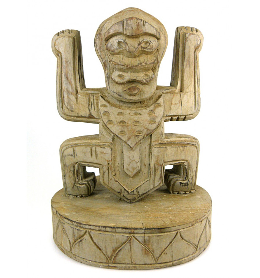 Totem statue trophy koh lanta in wood, deco style pre columbian.