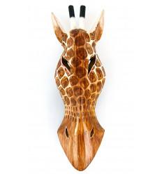 Masque Girafe en bois H30cm style trophée de chasse.