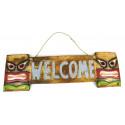 Plaque de porte bois welcome style tiki pour chambre adolescent.