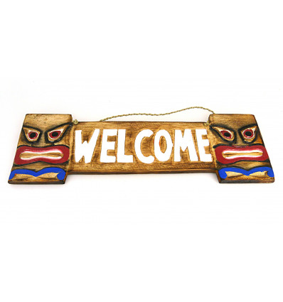 Plaque de porte en bois welcome style tiki, intérieur ou extérieur.