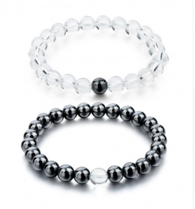 Bracelets of distance / couples - Hematite and rock Crystal - the Delivery is free !!!