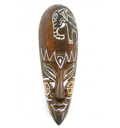 Masque décor éléphant batik en bois 30cm