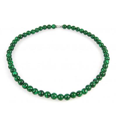 Collier ras de cou malachite, porte-bonheur guérison perles 8mm.
