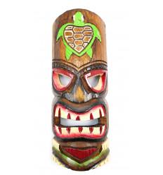 Masque Tiki h30cm en bois motif Tortue. Décoration Hawaï.
