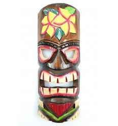Masque Tiki h30cm en bois motif Fleur. Décoration Tahiti