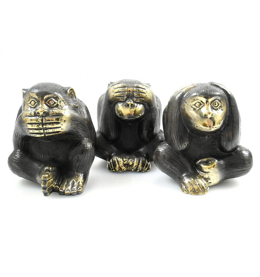 les 3 singes de la sagesse d co statues en bronze achat. Black Bedroom Furniture Sets. Home Design Ideas
