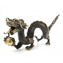 Statue Dragon d'Asie en bronze artisanal. Objet rare de collection.