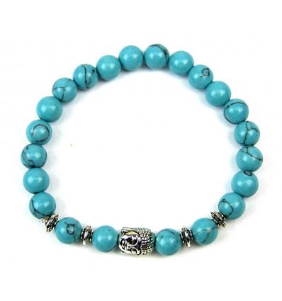 Bracelet en pierre naturelle howlite bleue, pierre stabilisante.