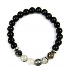 Bracciale in Onice naturale + perla del Buddha d'oro. Spedizione gratuita.