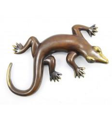 Salamandre gecko margouillat mural en bronze. Artisanat de Bali.