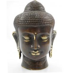 Tête de Bouddha en bronze. Achat décoration zen artisanat de Bali.