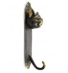 Robe hook wall cat bronze, coat rack object deco cat original.