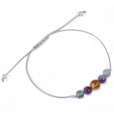 Bracelet pierre porte-bonheur intuition citrine fluorite, améthyste.
